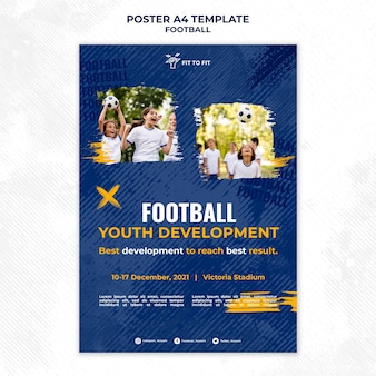 Póster vertical para entrenamiento de fútbol infantil.