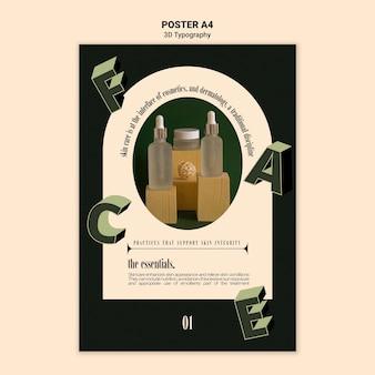 Póster vertical para exhibición de botellas de aceite esencial con letras tridimensionales.