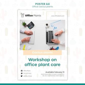 Póster vertical para plantas de espacio de trabajo de oficina.