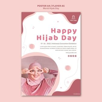 Poster voor de viering van de wereld hijab-dag