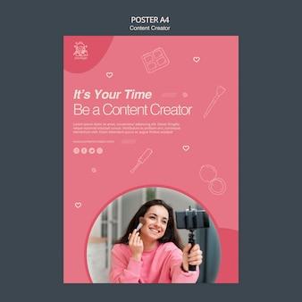 Poster voor het maken van content Gratis Psd