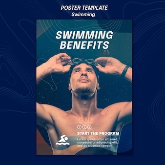 Poster zwemmen voordelen sjabloon