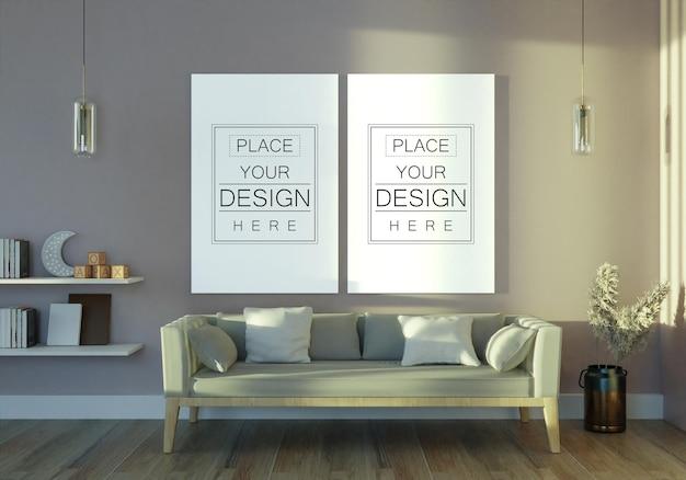 Posterframe in woonkamer mockup
