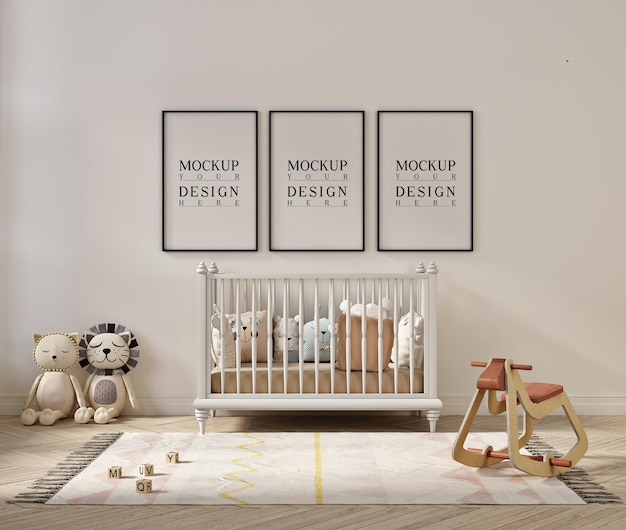 Posterframe mockup in schattig kinderkamer interieur