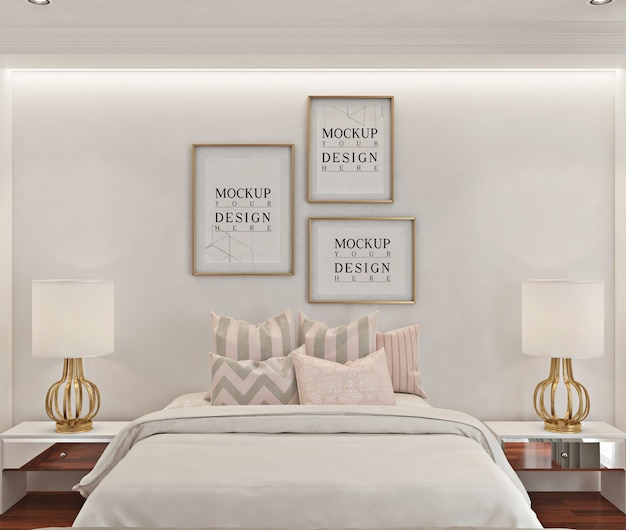 Posterframe mockup in witte moderne slaapkamer