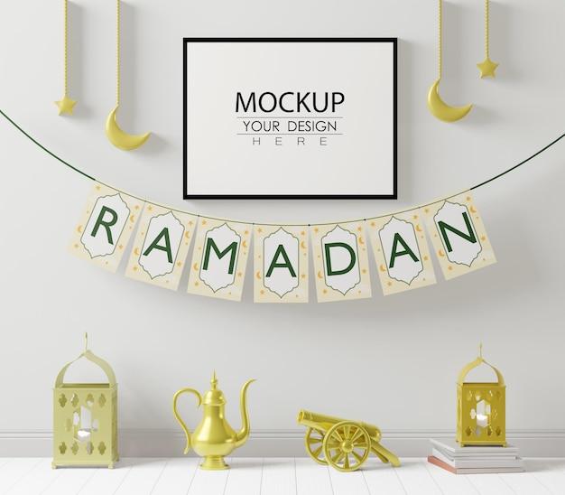 Posterframe mockup met interieur ramadan decoratie woonkamer