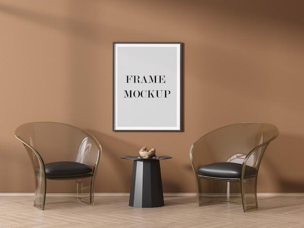 Posterframe mockup op oranje muur met schaduwen