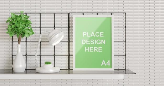 Posterframe mockup staande op de muurtafel