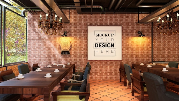 Posterlijst in restaurant mockup