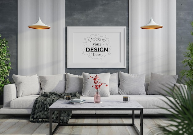 Posterlijst in woonkamer mockup