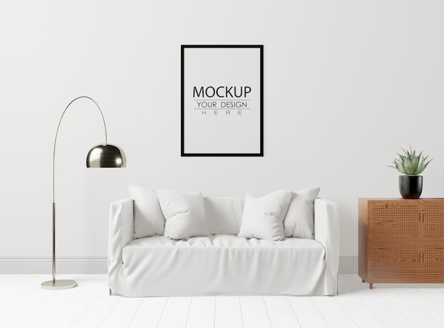 Posterlijst in woonkamer psd mockup