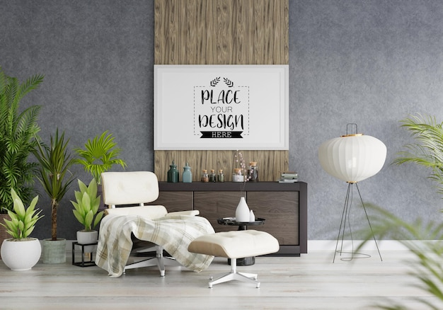 Posterlijst in woonkamer Premium Psd