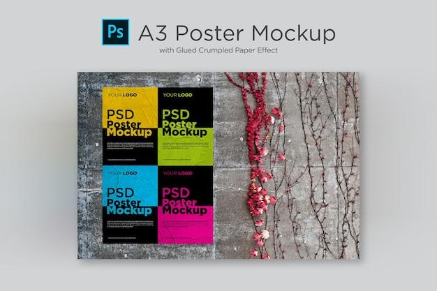 Postermodel met gelijmd en verfrommeld papiereffect