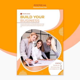 Posterontwerp voor het opbouwen van een bedrijf