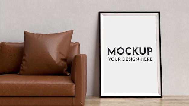 Posters, frame mock up in interieur met sofa.