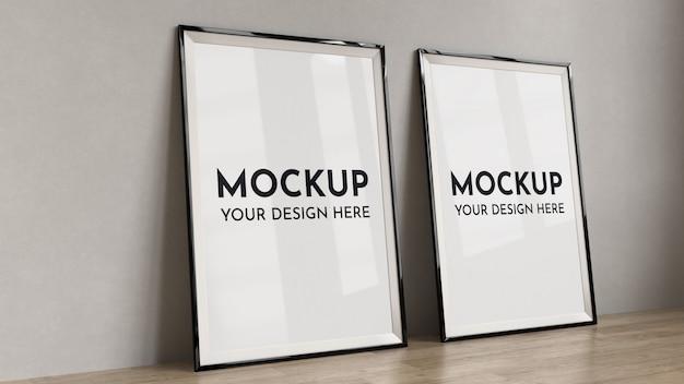 Posters, lijst mock up in interieur.
