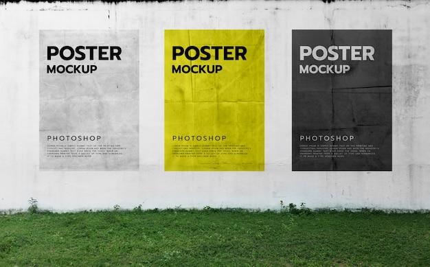 Posters op een muur achtergrond