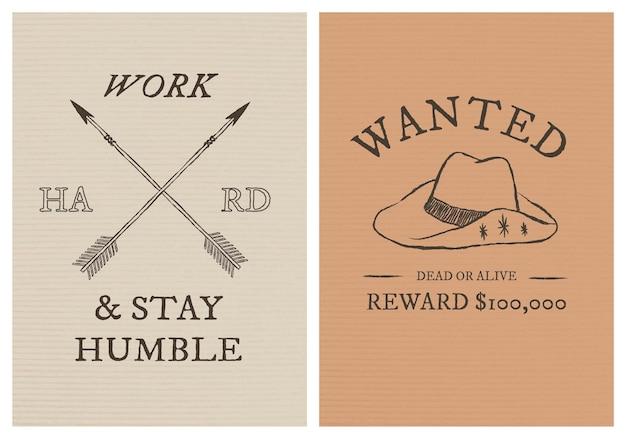 Postersjabloon met cowboythema psd met bewerkbare tekstset
