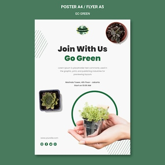 Postersjabloon om groen en milieuvriendelijk te gaan