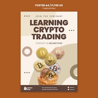 Postersjabloon voor cryptohandel leren