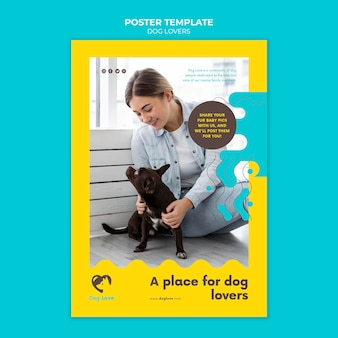 Postersjabloon voor hondenliefhebbers met vrouwelijke eigenaar