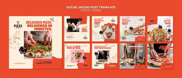 Posts op sociale media van pizzarestaurants