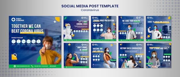 Postsjabloon voor coronavirus sociale media