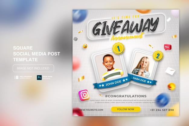 Postsjabloon voor sociale media met weggeefpromotie voor instagram facebook