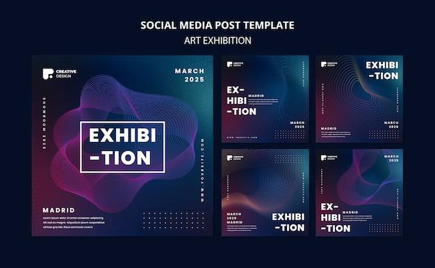 Postsjabloon voor sociale media voor kunsttentoonstelling