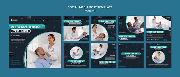 Postsjabloon voor sociale media voor medische zorg