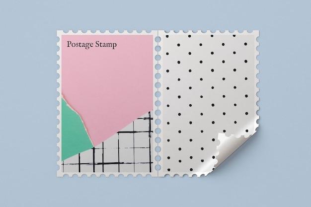 Postzegelmodel psd met schattig pastel gescheurd papier