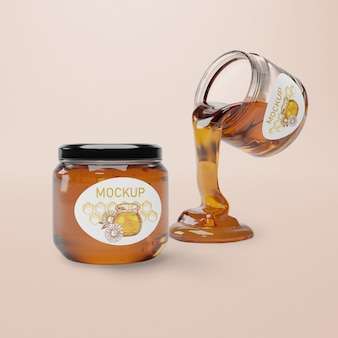Pot met natuurlijke honing mock-up