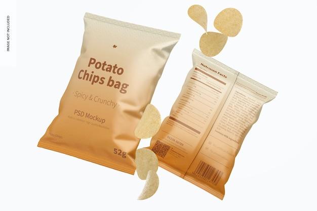 Potato chips bags mockup, falling