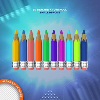 Potloden terug naar school 3d-labelweergave