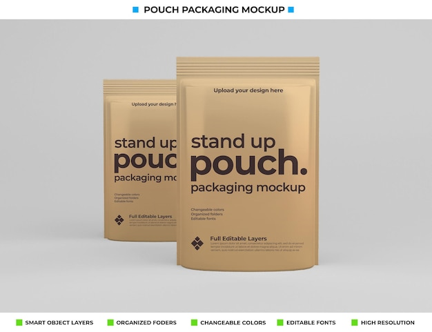 Pouch pakket mockup ontwerp in voedselconcept