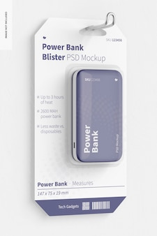 Power bank blister mockup, opknoping