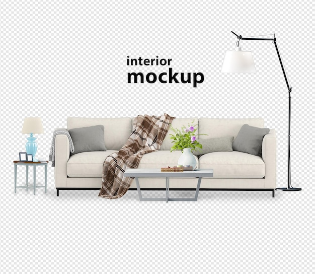 Prachtig interieur in 3d-rendering