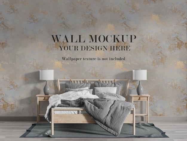 Prachtige landelijke stijl slaapkamer muur mockup