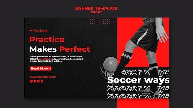 La práctica hace la plantilla perfecta de banner de fútbol