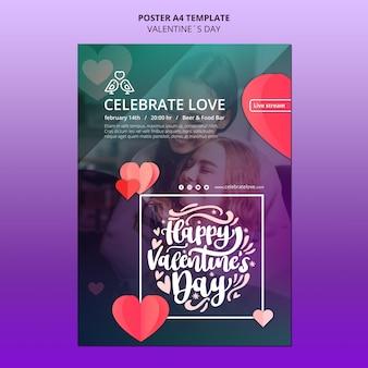 Preciosa plantilla de cartel de san valentín con foto