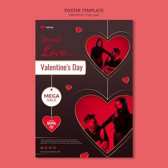 Preciosa plantilla de cartel de san valentín
