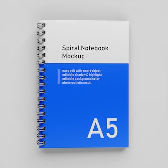 Premium a5 single bussiness hardcover spiral binder notebook mock up ontwerpsjabloon in bovenaanzicht