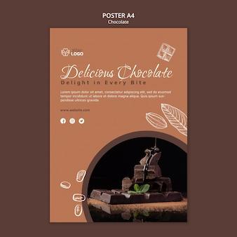 Premium chocolade poster sjabloon Gratis Psd