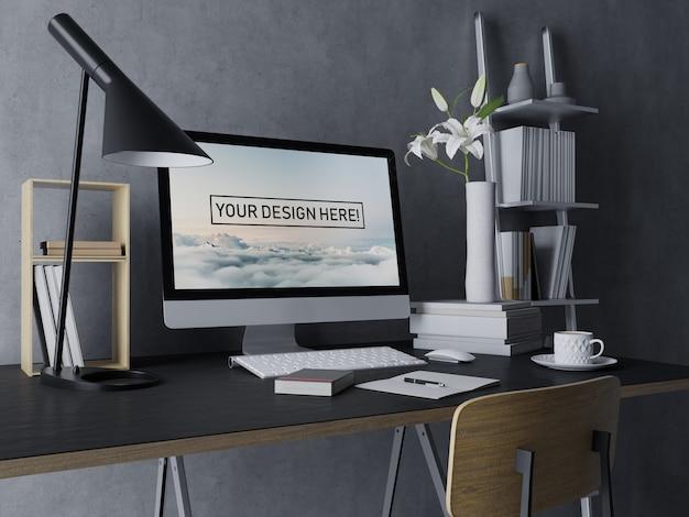 Premium desktop computer mockup ontwerpsjabloon met bewerkbaar scherm in zwarte moderne interieur werkruimte
