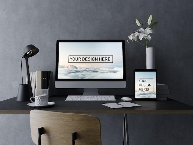 Premium desktop en tablet mock ups ontwerpsjabloon met bewerkbare display in elegante interieur werkplek