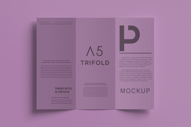 Premium driebladige brochure mockup