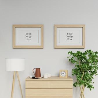 Premium dubbele a2 poster frame mockup ontwerpsjabloon opknoping landschap in hedendaagse interieur