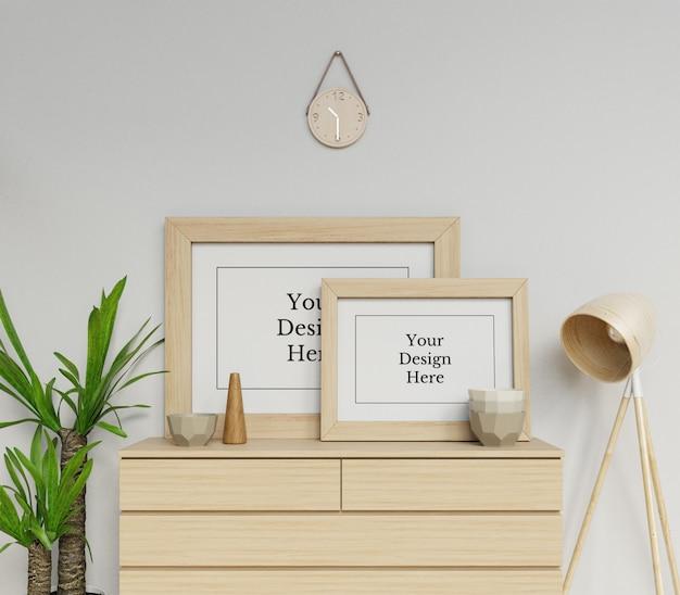 Premium dubbele affiche frame mock up ontwerpsjabloon zit landschap in scandinavië interieur