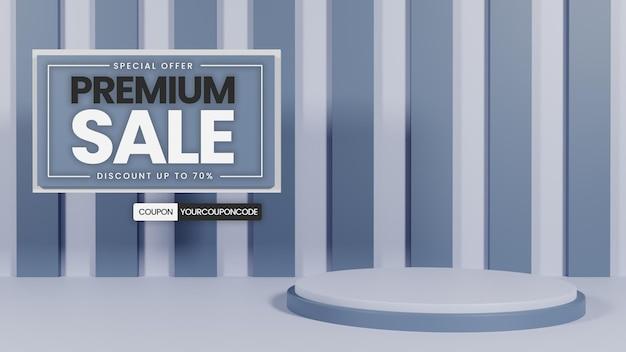 Premium eenvoudig podium met grijze kleur