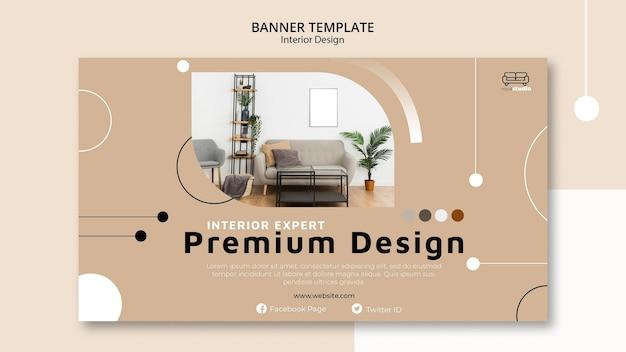 Premium interieur ontwerpsjabloon voor spandoek
